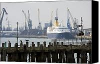 Decaying Canvas Prints - Southampton old pier and docks Canvas Print by Jane Rix