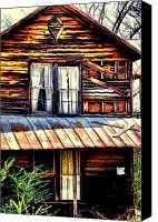 Old Houses Canvas Prints - Southern Homestead Canvas Print by Emily Stauring