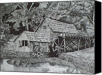 Pen And Ink Old Mill Drawing Canvas Prints - Southern Watermill Canvas Print by Chris Shepherd