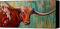 Western Canvas Prints - Southwest Longhorn Canvas Print by Theresa Paden