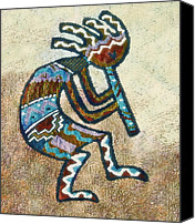 Susan Leggett Digital Art Canvas Prints - Southwestern Style Kokopelli  Canvas Print by Susan Leggett