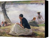 Contemplative Painting Canvas Prints - Souvenir Canvas Print by Emile Friant