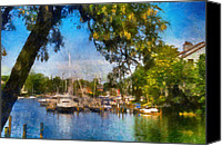 Motor Boats Canvas Prints - Spa Creek Canvas Print by Lois Bryan