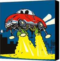 Building Digital Art Canvas Prints - Space car taking off Canvas Print by Aloysius Patrimonio