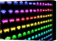 Game Canvas Prints - Space Invaders Canvas Print by Michael Tompsett