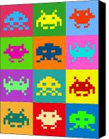 Game Canvas Prints - Space Invaders Squares Canvas Print by Michael Tompsett