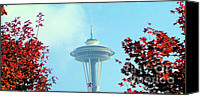 City Scape Digital Art Canvas Prints - Space Needle in the Fall Canvas Print by Nick Gustafson