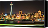 Seattle Waterfront Canvas Prints - Space Needle Canvas Print by Stephen Kacirek