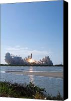 Billows Canvas Prints - Space Shuttle Discovery Lifts Off Canvas Print by Stocktrek Images