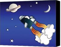 Cartoon Canvas Prints - Space travel Canvas Print by Jane Rix
