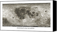 20; 15:11 Canvas Prints - Spacecraft On The Moon, Lunar Map Canvas Print by Detlev Van Ravenswaay