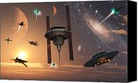 Paranormal  Digital Art Canvas Prints - Spaceships Used By Different Alien Canvas Print by Mark Stevenson