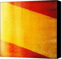 Patriotism Photo Canvas Prints - Spain flag Canvas Print by Setsiri Silapasuwanchai