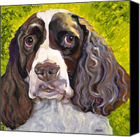 Animal Greeting Card Canvas Prints - Spaniel The Eyes Have It Canvas Print by Susan A Becker
