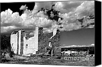 Bw Canvas Prints - Spanish Mission ruins of Quarai NM Canvas Print by Christine Till