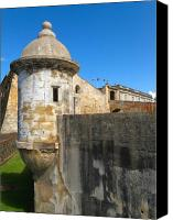 Puerto Rico Photo Canvas Prints - Spanish Sentry Post of San Cristobal Fort San Juan Puerto Rico Canvas Print by George Oze