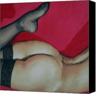 Female Nude Canvas Prints - Spank Me Canvas Print by Jindra Noewi