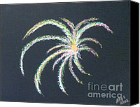 Independence Day Painting Canvas Prints - Sparkler Canvas Print by Alys Caviness-Gober