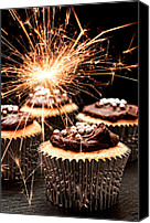Cupcakes Canvas Prints - Sparkler Cupcakes Canvas Print by Christopher Elwell and Amanda Haselock
