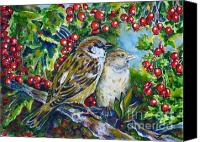 Fauna Painting Canvas Prints - Sparrows on the hawthorn Canvas Print by Zaira Dzhaubaeva