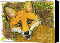 Fox Pastels Canvas Prints - Speaking Fox Canvas Print by Laura Brightwood
