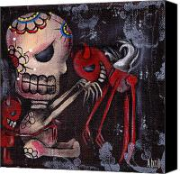 Sugar Skull Painting Canvas Prints - Special Friends Canvas Print by  Abril Andrade Griffith