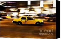 Speeding Taxi Canvas Prints - Speeding yellow taxi cab Canvas Print by Asaf Brenner