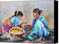 Spice Painting Canvas Prints - Spice Sellers Canvas Print by Kate Bedell