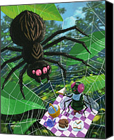 Creepy Canvas Prints - Spider Picnic Canvas Print by Martin Davey