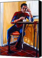 Emily Jones Canvas Prints - Spiderman after work Canvas Print by Emily Jones