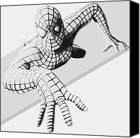 Anibal Diaz Canvas Prints - Spiderman Chrome Canvas Print by Anibal Diaz