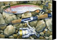 Sports Art Painting Canvas Prints - Spin Trout Canvas Print by Mark Jennings