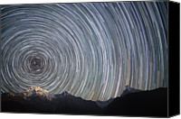 Nepal Canvas Prints - Spinning Stars Above Himalayas Canvas Print by Anton Jankovoy