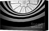 Tourist Destinations Canvas Prints - Spiral staircase and ceiling inside The Guggenheim Canvas Print by Sami Sarkis