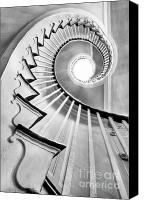 Black And White Photo Canvas Prints - Spiral Staircase Lowndes Grove  Canvas Print by Dustin K Ryan