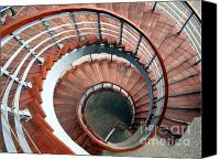 Spiral Staircase Canvas Prints - Spiraling Staircase Seen  From Above Canvas Print by Yali Shi
