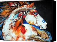 Feathers Canvas Prints - Spirit Indian War Horse Canvas Print by Marcia Baldwin