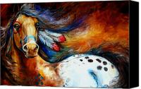 Equine Canvas Prints - Spirit Indian Warrior Pony Canvas Print by Marcia Baldwin