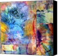 Mixed Media Digital Collage Canvas Prints - Spirit of the Gardens Soul Canvas Print by Meg Zivahl-Fox