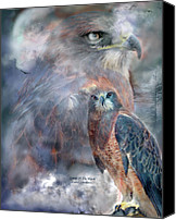 Animal Art Print Mixed Media Canvas Prints - Spirit Of The Hawk Canvas Print by Carol Cavalaris