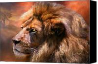 Lion Mixed Media Canvas Prints - Spirit Of The Lion Canvas Print by Carol Cavalaris