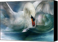 Animal Art Print Mixed Media Canvas Prints - Spirit Of The Swan Canvas Print by Carol Cavalaris