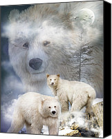 Scene Mixed Media Canvas Prints - Spirit Of The White Bears Canvas Print by Carol Cavalaris