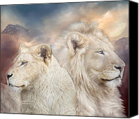 Lion Mixed Media Canvas Prints - Spirits Of Light Canvas Print by Carol Cavalaris