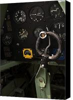 Warbird Photo Canvas Prints - Spitfire Cockpit Canvas Print by Adam Romanowicz