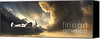 Stormy Photo Canvas Prints - Spitfire Canvas Print by Meirion Matthias