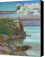 Storm Clouds Pastels Canvas Prints - Split Rock Lighthouse Canvas Print by James Geddes