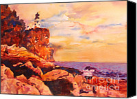 Warm Colors Painting Canvas Prints - Split Rocks Golden Memories       Canvas Print by Kathy Braud
