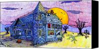 Old Drawings Canvas Prints - Spooky House Canvas Print by Jame Hayes
