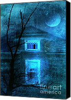 Haunted House Canvas Prints - Spooky House with Moon Canvas Print by Jill Battaglia